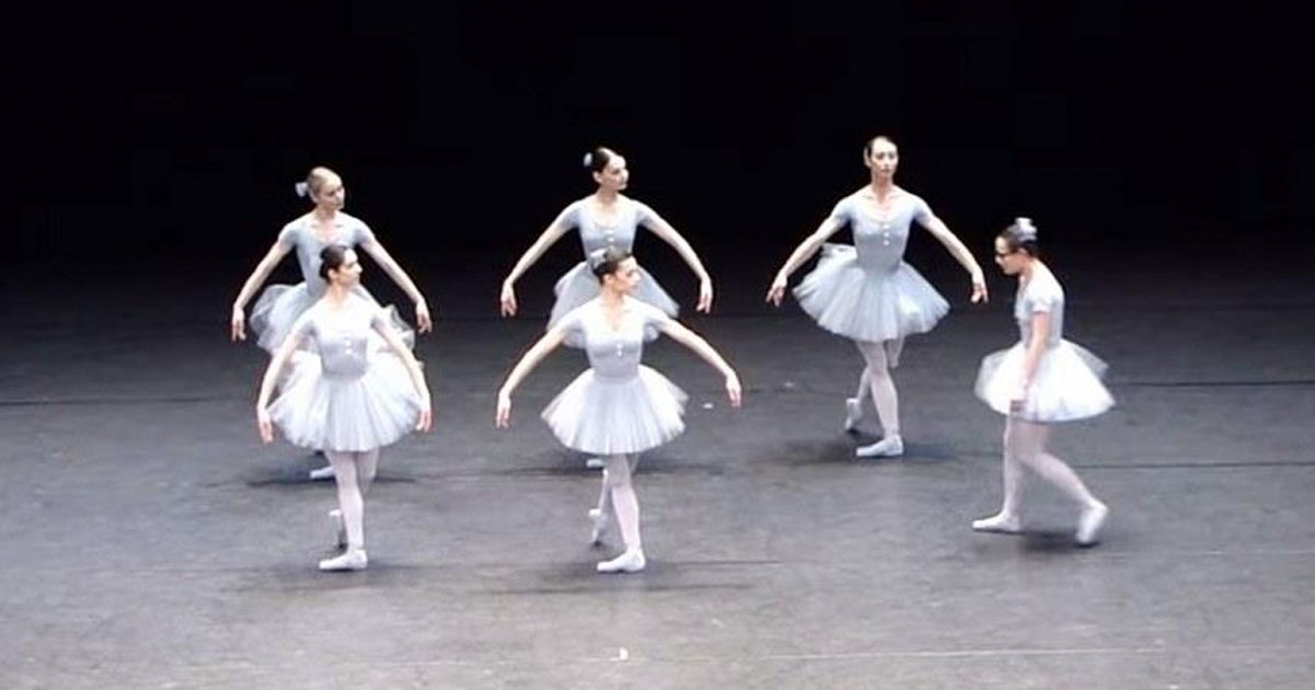 Ballerinas perform onstage, but audience is caught off guard by their 'funny' routine