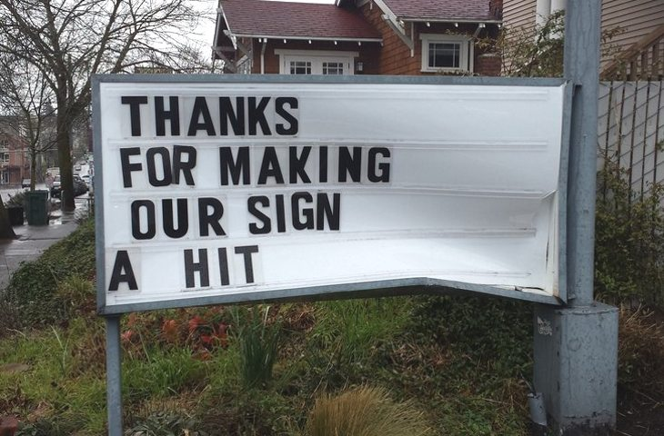 Image result for seattle gas station puts up humorous sign