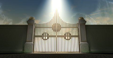 The pearly gates of heaven with the bright side of heaven contrasting with the duller foreground and an ethereal spotlight