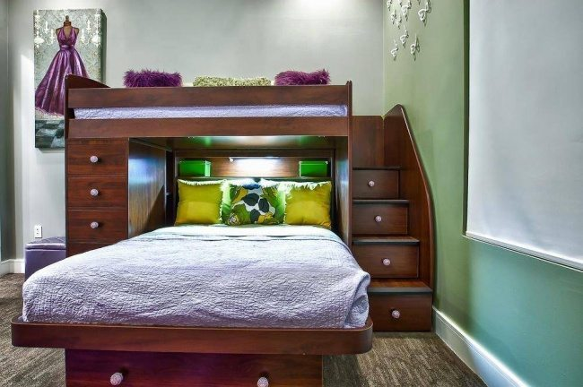 334455-R3L8T8D-650-interior-paint-color-with-wall-decor-and-teenage-bunk-beds-also-under-stair-storage-and-contemporary-bedding-