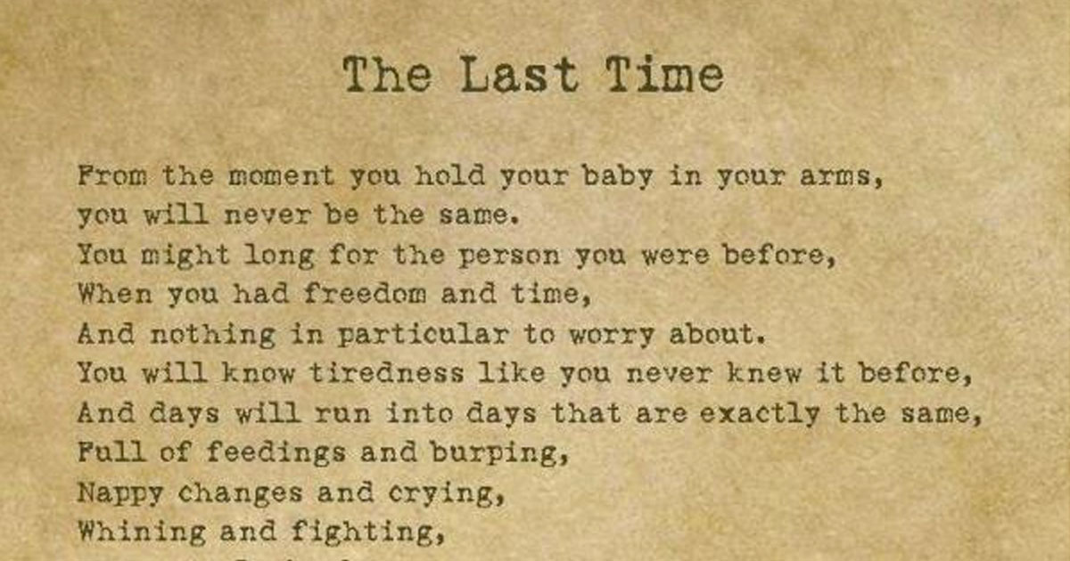 the last time is a touching poem for parents
